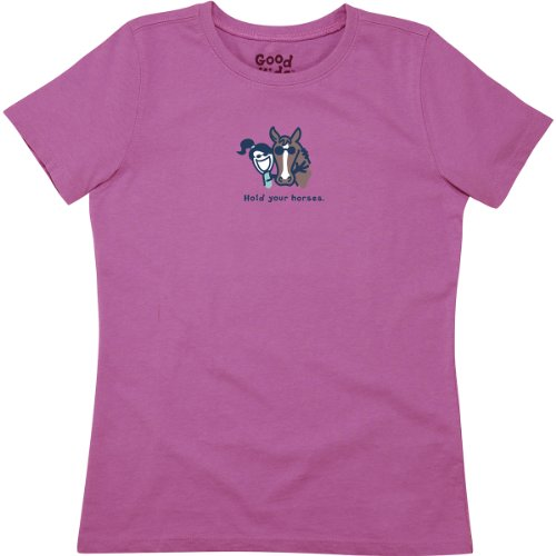 Life Is Good Girl'S Jackie Hold Horses Easy Tee (Washed Plum), X-Large front-474052