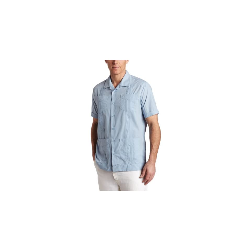 Cubavera Mens Short Sleeve Traditional Guayabera Shirt, Blue, Large