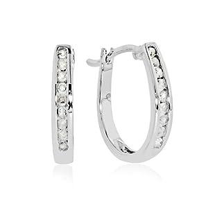 10k White Gold 1/4-ct. T.W. Diamond Oval Hoop Earrings
