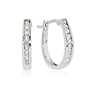 10k White Gold 1/4-ct. T.W. Diamond Oval Hoop Earrings