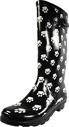 NORTY - Womens Hurricane Wellie Gloss Hi-Calf Paw Printed Rain Boot, Black, White 39209-8B(M)US (Rain Boots Printed compare prices)