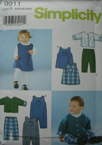 Simplicity Sewing Pattern 9911 Size A (Xxs,Xs,S,M,L) Babies Dress, Romper, Pants And Lined Jacket front-834763