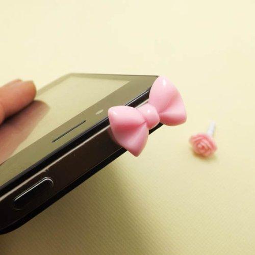 Romantic Pink Bowknot Rose Flower Anti Dust Plug 3.5Mm Smart Phone Dust Stopper Headphone Jack Earphone Cap Dustproof Plug Charm Iphone 4 4S 5 5S Htc Samsung Ipad 2 3 4 Mini Ipod Blackberry Sony (Pink Bowknot)