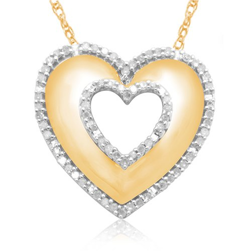 10k Yellow Gold Diamond Heart Shaped Pendant