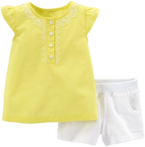 Carter's Baby Girls 2 pc. Top & French Terry Shorts Set (24 Months, Yellow)