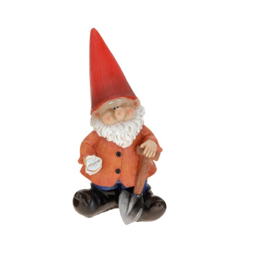 With Spade Medium Resin Garden Gnome Outdoor Ornament Gnomes Toadstool Statue