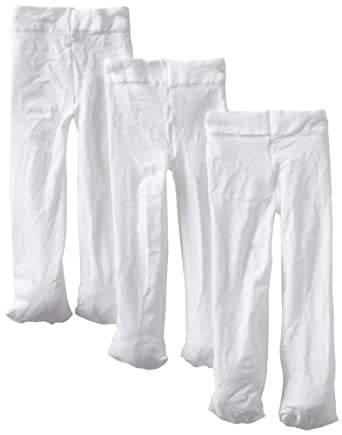 Country Kids Baby-girls Infant Signature Microfiber Opaque 3 Pair Tights, White, 12-24 Months
