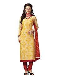 Touch Trends Lemon Yellow Embroidered Dress Material