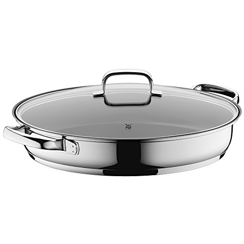 WMF 07 6150 6380 Fish/Gourmet Pan, Stainless Steel with Durit Protect Plus Non-Stick Coating, Silver