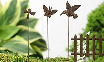Giftcraft Mini World Iron Miniature 75quot Assorted Wildlife Garden Picks - Dragonfly Hummingbird an