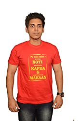 College Jugaad Red Printed Cotton T-shirt for Men