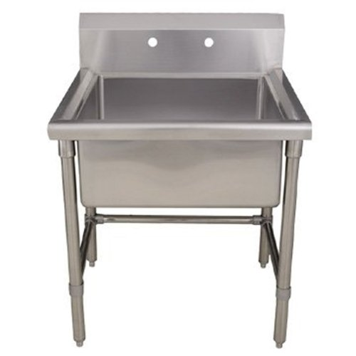 Whitehaus WHLS2424-BSS Noah'S Collection 24-Inch Square Commercial Freestanding Laundry/Utility Sink, Brushed Stainless Steel