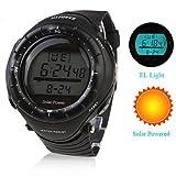 Unisex Solar Powered Multi-Functional Digital Wrist Watch (Black)
