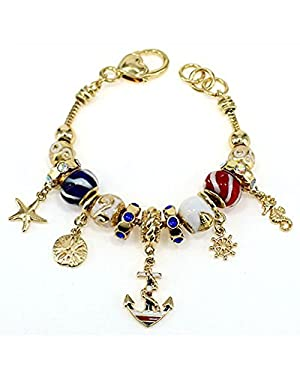 Sealife Nautical Theme Gold Tone Anchor Rope Rudder Sand dollar Starfish Sea horse Charm Bead Bracelet