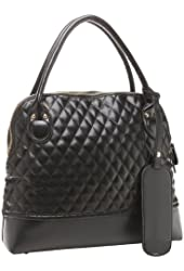 MG Collection TAMERA Oversize Black Quilted Diamond Pattern Office Tote Handbag
