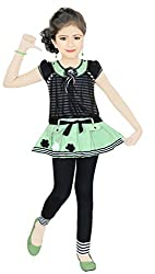 Karnika Girls' Green Cotton Dress