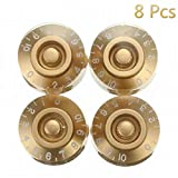 Electric Parts Knob Electric Guitar Knobs Speed Control Knobs Guitar Control Knobs 6mm LS Knobs Speed Control Knobs for Les Paul Metric Guitar Knobs Speed Dial Knobs Gold 8pcs