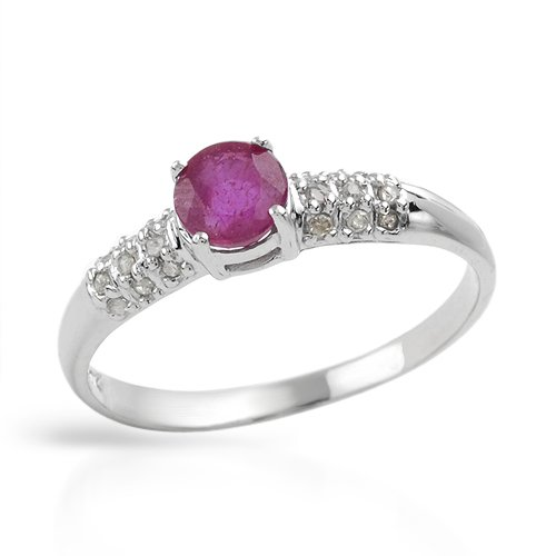 White Gold 0.62 CTW Ruby and 0.08 CTW Color H-J I2 Diamond Ladies Ring. Ring Size 7. Total Item weight 1.8 g.