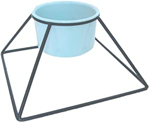 YML 5-Inch Wrought Iron Stand with Single Plastic Feeder Bowls, 20-Ounce
