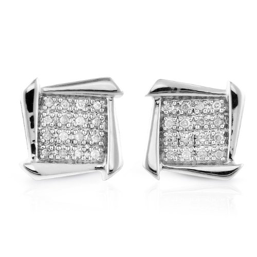 0.10ct TDW Diamond Square Cluster Earrings in Sterling Silver