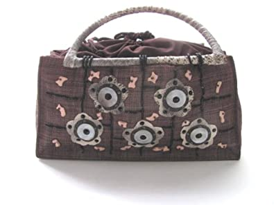 Cute and Eco Friendly Burlap Mother of Pearls and Coconut Shell Purse