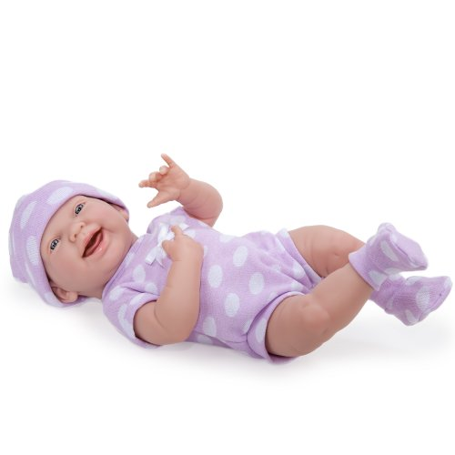 "Jc Toys 15"" La Newborn Purple Polka Dot Onesie"