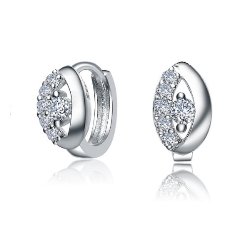 Simply Pretty Sterling 925 Silver Huggie Earrings Featuring Round Cut CZ Diamonds Accent - Incl. ClassicDiamondHouse Free Gift Box & Cleaning Cloth