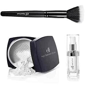 elf Studio High Definition Loose Face Powder With Mineral Infused Face Primer and Stipple Brush