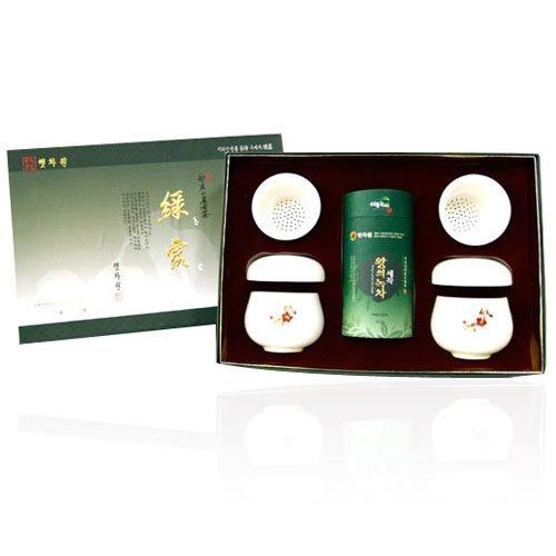 Korean Organic Premium Top Grade Mountain Loose Leaf Green Tea Ceramic Porcelain Mug Infuser Strainer Gift Set - 2.1 Ounce