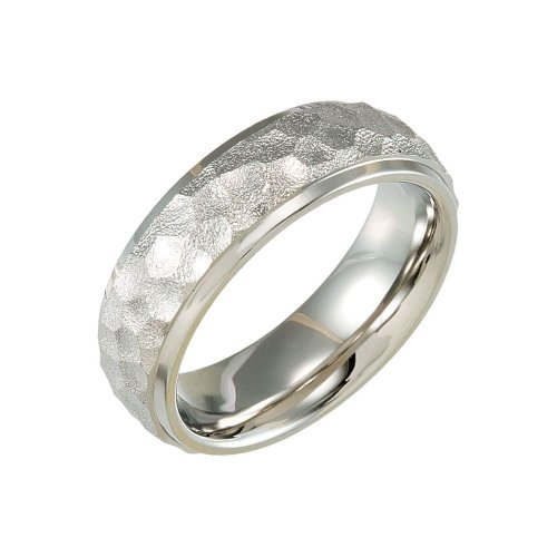 7.0 Titanium Hammered Bevelled Domed Wedding Band Ring (Size 8.5 )