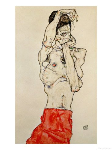 Standing Male Nude with Red Loincloth, 1914 Giclee Print (9 x 12 in)
