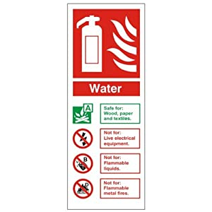Fire I.D Water Sign 80x200 (FI-07) Self Adhesive