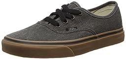 Vans Unisex Authentic (Washed Canvas) Black/Gum Skate Shoe 9 Men US / 10.5 Women US