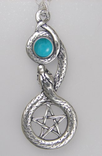 Sterling Silver Pentacle and Snake Accented With a Genuine Turquoise