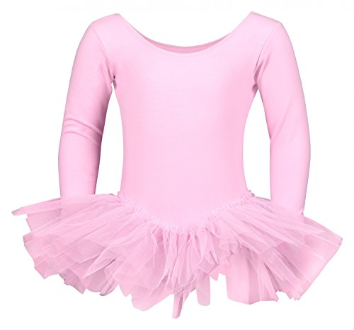 """tanzmuster Kinder Ballett Trikot Ballettanzug """"Alea"""" mit Tutu aus 3-lagigem Tüll. Wunderschönes Ballettkleid mit langen Ärmeln für die kalten Tage in den Farben rosa, weiß, hellblau, schwarz, pink und lila."""