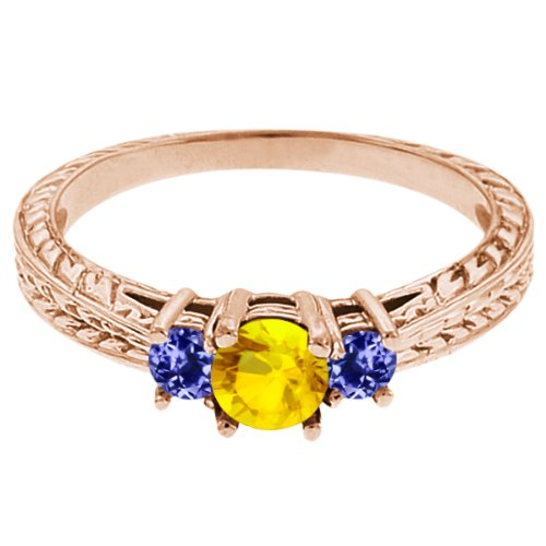 0.60 Ct Round Yellow Sapphire Blue Tanzanite 14K Rose Gold 3-Stone Ring