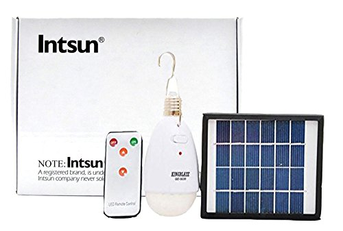 Intsun® New 2W Solar Panel, 20 Leds, 2000 Ma High Capacity Lithium Battery, Solar Led Remote Control Light, Super Light Camping Lamp, Tent Lamp, Yard Lamp, Lawn Lamp, Indoor Outdoor Portable Lamp/Light.