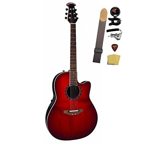 Ovation 1771 Ax Standard Balladeer Mid Depth Acoustic Electric Guitar Bundle, Cherry Cherry Burst