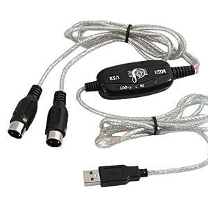 DIGIFLEX USB Midi Cable Lead Adaptor for Musical Keyboard to PC Laptop XP Vista Win 7 Mac