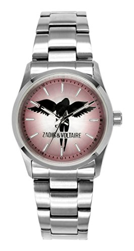 Zadig Voltaire ZV &004/OM-Rock Women's Quartz Analogue Watch-Pink Face-Silver Steel Strap