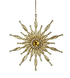 Asian Fusion Gold Glitter Twisted Starburst Snowflake Christmas Ornament 6""