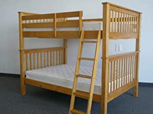 Bunk Bed Full over Full Mission style in Honey by Bedz King