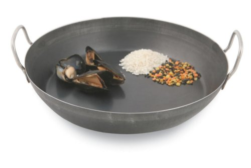 Paderno World Cuisine 15.75 Inch Black Steel Paella Pan