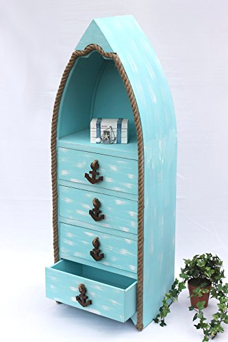 Boot-Kommode-412-Badregal-117cm-Shabby-Schrank-Badschrank-Badmbel-Regal-Blau