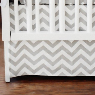 Buy Gray Chevron Box Pleat Crib Skirt