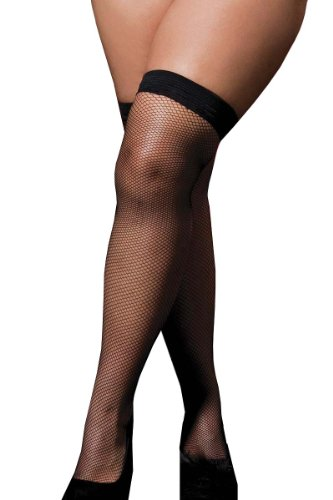 Seven Til Midnight Women's Plus-Size Fishnet Thigh High Top Stocking