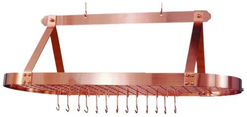 Old Dutch 48 X 18 Oval Satin Copper Pot Rack with 16 Hooks