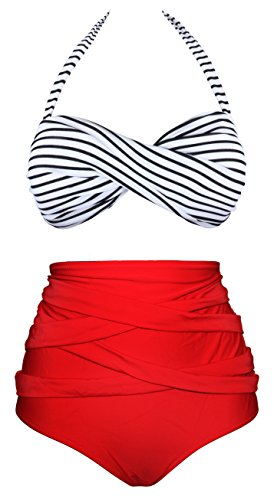 Angerella Retro 50s Stripe Swimsuits High Waisted Bathing Suits (BKI033-R1-M)