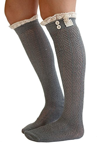 the-original-button-boot-socks-with-lace-trim-boutique-socks-by-modern-boho-dark-grey