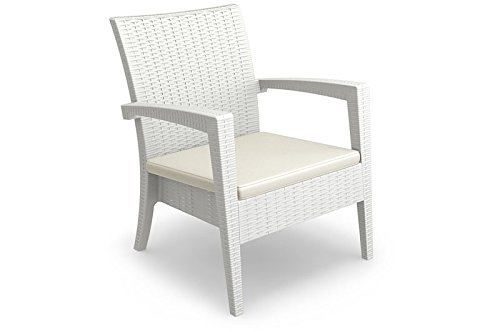 CLP stapelbarer Garten Sessel MIAMI in Rattan Optik, mit Sitzauflage, UV-, farb- und wasserbeständig (aus bis zu 3 Farben wählen) weiß bestellen